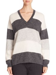 Vince Striped Mohair Sweater Heather Carbon Off White Steel