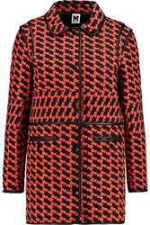 M Missoni Leather Trimmed Quilted Shell Coat Red