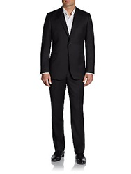 Saks Fifth Avenue Black Slim Fit Wool Suit Black