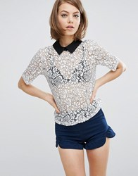 Fashion Union Lace Top With Contrast Collar White