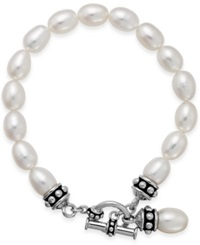 Honora Style Cultured Freshwater Pearl Pallini Toggle Bracelet In Sterling Silver 7 1 2Mm White