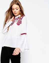 Asos High Neck Embroidered Blouse With Mesh Insert White