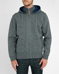 Harris Wilson Mottled Grey Anderson Double Face Zipped Hooded Cardigan
