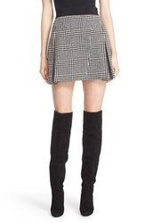 Alice Olivia Women's 'Cindie' Plaid Faux Wrap Pleated Miniskirt Black Cream