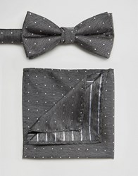 Selected Homme Tie And Pocket Square Set Grey