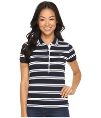 Lacoste Short Sleeve Striped Slim Fit Polo Shirt Navy Blue Cake Flour White Women's Short Sleeve Knit Black