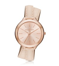 Michael Kors Slim Runway Rose Gold Tone And Leather Wrap Watch