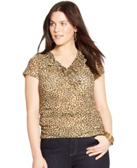 Lauren Ralph Lauren Plus Size Leopard Print Ruffled Top Multi