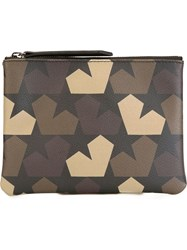 Ports 1961 Star Camouflage Print Clutch Green