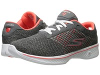 Skechers Go Walk 4 Exceed Charcoal Coral Women's Lace Up Casual Shoes Gray