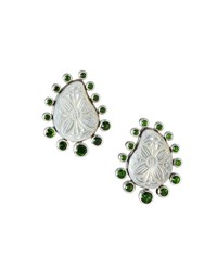 Stephen Dweck Carved Mother Of Pearl Button Clip Earrings