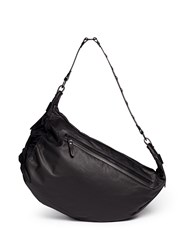 Lanvin Single Strap Leather Drawstring Sailor Bag Black
