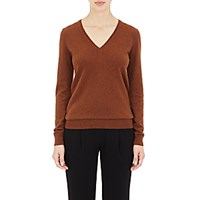 Barneys New York Women's Cashmere V Neck Sweater Brown