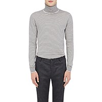 Lanvin Men's Striped Turtleneck Sweater Black Light Grey No Color Black Light Grey No Color