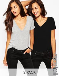 Asos Tall The New Forever T Shirt In Soft Touch 2 Pack Save 15 Black Grey Multi