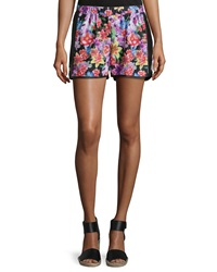 Romeo And Juliet Couture Floral Print Perforated Shorts Multicolor