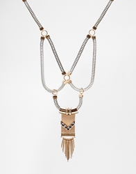 Aldo Ceppagna Mesh And Chain Necklace Mixedmetal