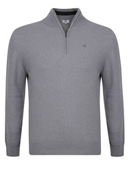 Calvin Klein Superwool Zip Neck Sweater Silver