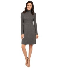 Adrianna Papell Turtleneck Long Sleeve Solid Pleat Dress Grey Women's Dress Gray