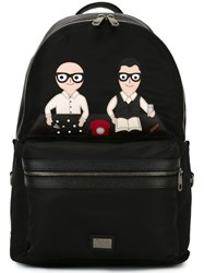 Dolce And Gabbana 'Volcano' Designers Patch Backpack Black