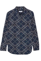 Equipment Slim Signature Printed Washed Silk Shirt Navy