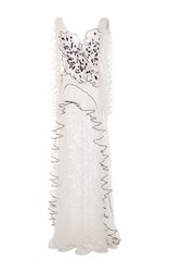 Rodarte Hand Embroidered Tulle And Lace Gown White