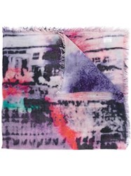 Lily And Lionel 'Kate' Printed Scarf Pink Purple