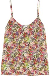 Equipment Layla Floral Print Washed Silk Camisole Fuchsia