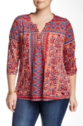 Lucky Brand Diamond Aztec Print Band Collar Blouse Plus Size Red