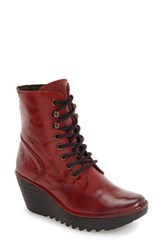 Fly London Women's 'Ygot' Platform Wedge Boot Red Nevada Leather
