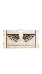 Edie Parker Lara Wings Clutch Nude