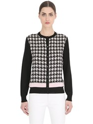 Salvatore Ferragamo Houndstooth Wool And Silk Cardigan