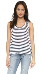 Lna Open Tank White Navy Stripe