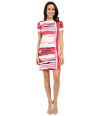 Vince Camuto Short Sleeve Printed Scuba Shift Dress Pink Multi Women's Dress