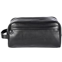 John Lewis Traditional Leather Wash Bag Black