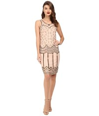 Unique Vintage Hand Beaded Chiffon Cut Out Tant Flapper Rose Bronze Women's Dress Bone