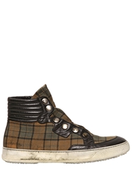 Bruno Bordese Tartan Snap Button High Top Sneakers Brown