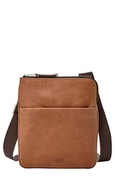 Men's Fossil 'Estate' Leather Crossbody Bag Metallic Cognac