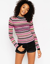 Asos Turtle Neck Jumper With Metallic Stripes Multi