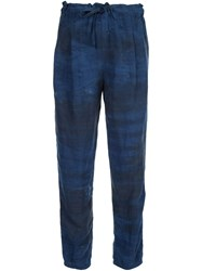 Raquel Allegra Tie Dye Print Tapered Trousers Blue