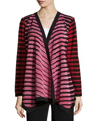 Misook Long Woven Open Front Jacket Black Red Multi