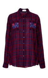 Tanya Taylor Embroidered Plaid Romy Shirt