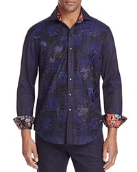 Robert Graham Limited Edition Embroidered Classic Fit Button Down Shirt Navy