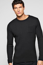 Boohoo Ribbed Body Crew Neck Sweater With Patch Pocket Black