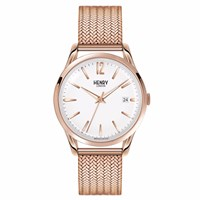 Henry London 39Mm Unisex Richmond Stainless Steel Bracelet Watch White Rose Gold