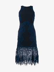 Jonathan Simkhai Macrame Lace Fitted Dress Navy Red