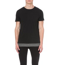 Allsaints Jermiah Double Layer T Shirt Washblack Char