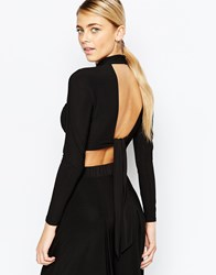 Love High Neck Crop Top With Open Back And Long Sleeves Black