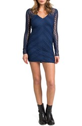 Lamade Women's V Neck Lace Body Con Dress Egyptian Blue
