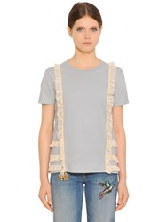 Red Valentino Cotton Jersey T Shirt W Tulle Ruffles
